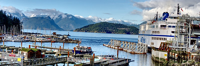 We drove up the West Vancouver coastal highway to the ferry terminal to see if one of Mali's nephews was still working in a nearby cafe. We didn't find her nephew but the view from Horseshoe Bay was striking enough for a quick walk-by panorama.