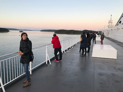 """Mali on the upper deck of a BC Ferry. We popped over to Victoria for """"no particular reason."""" I enjoy boat rides when they are going somewhere. Cruising just to cruise is like being in Hotel California: you can check in but you cannot check out."""