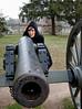 """Mali """"womaning"""" a Gettysburg cannon."""
