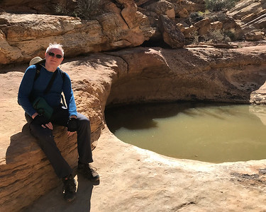 """Sitting beside a Capitol Reef National Park """"tank."""" Tanks are natural catch basins. Most of the water pours down the wash but tanks retain some of it."""