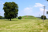 The Monks mound at Cahokia from the grand plaza.  The large flat expanse surrounding the mounds probably contributed to their preservation. It was ready made farm land for 19th century settlers.