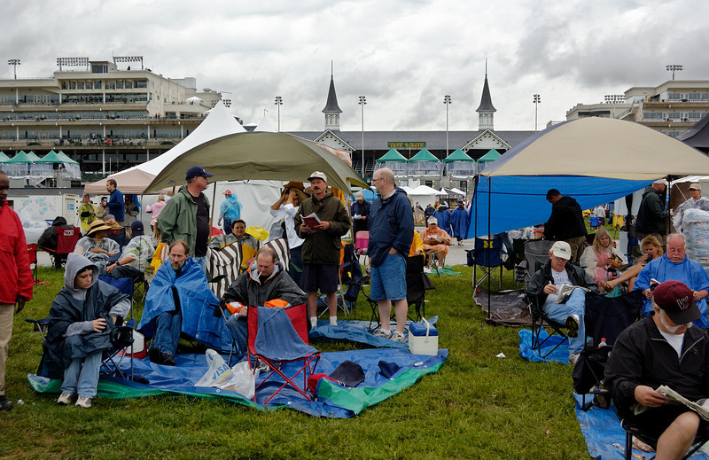 The soggy weather did not dampen Derby spirts.  It was a big party in the infield.