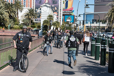 The Vegas strip crowds are very much part of the show.  The town attracts weirdos like me from around the world.  On this Sunday serious pedalers were rolling. Pedalers are like their motorcycle cousins but instead of hogs, they ride kids bikes.