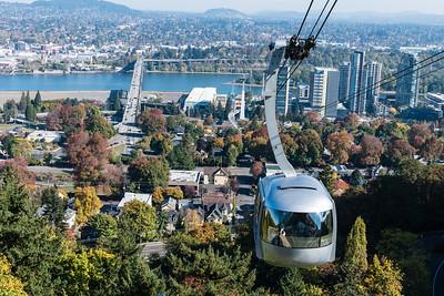 The Portland Sky Tram runs from nearby streetcar stops to OHSU (Oregon Health & Science University).
