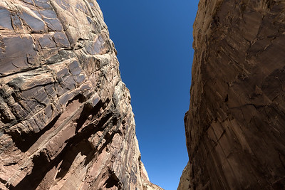 Looming Capitol Reef gorge cliffs.