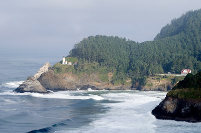 Heceta Head Lighthouse and light keeper house. The coastal fog was just lifting as the lighthouse came into view. We watched sea lions in the surf below until the light improved.