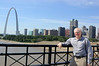 Standing on the Eads bridge looking south west at St. Louis.  The arch is well worth a look.  It's an elegant landmark.