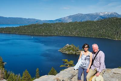 Mali and John above Lake Tahoe.