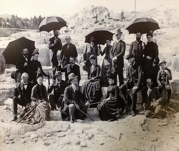 Hanging on the walls of the restaurant in the Mammoth Hot Spring Hotel in Yellowstone are prints of old photographs taken around the turn the 19th and 20th centuries. This picture is of a group of tourists posing on the Mammoth terraces. A number of things stand out. Tourists of that era dressed a lot better than modern tourists. They also put more effort into posing and composing photographs. The selfie has not improved photography. Finally, they got away with things that are illegal today: you cannot climb on the fragile Mammoth terraces to pose in 2017. It's a good way to get detained, fined and expelled from the park.