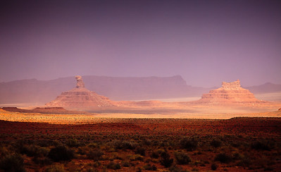 The light primeval - in a dust  storm, Valley of the Gods, Utah