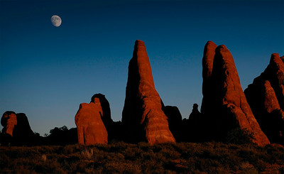 Moonrise over fins at Arches National Park.