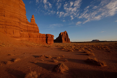 Temple of the Sun (center) and Temple of the Moon (left) -Capital Reef National Park