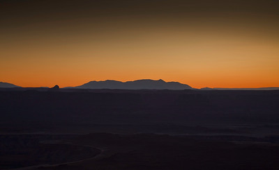 The Henry Mountains after sunset - from the Green River overlook at Canyonlands Island in the Sky National Park.