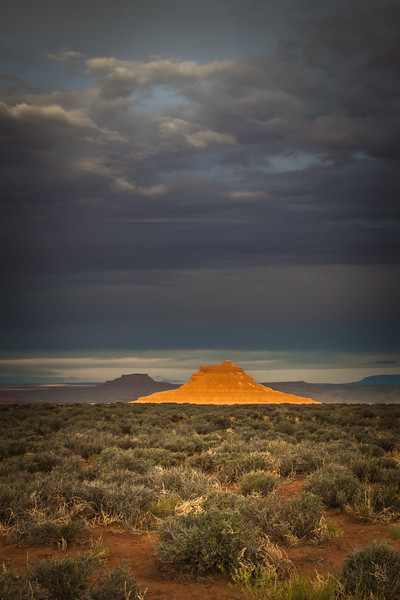 Highlighted Butte Near Mexican Hat Utah