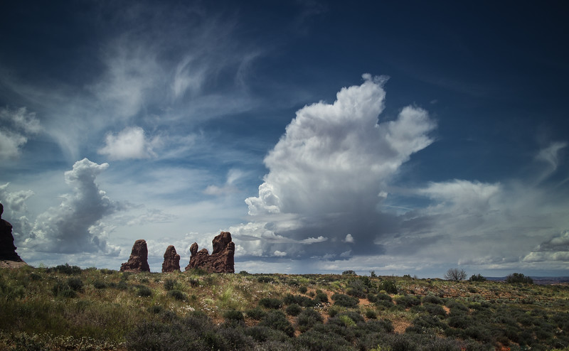 Thunderheads Forming Over Arches National Park