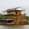 Pretty complex  arrangement of stilts for this home near Chau Doc on the Bassac River, a tributary of the Mekong