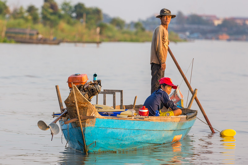 Late afternoon sun on the Tonle Sap River in Krong Kampong Chhnang Cambodia