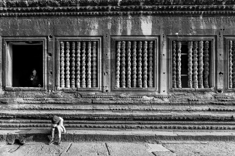 Taking a break from the heat at Angkor Wat.  Even at 8 am the heat and humidity was stifling.