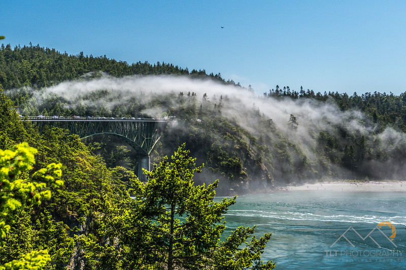 Mist at Deception Pass as we drive towards Whidbey Island.