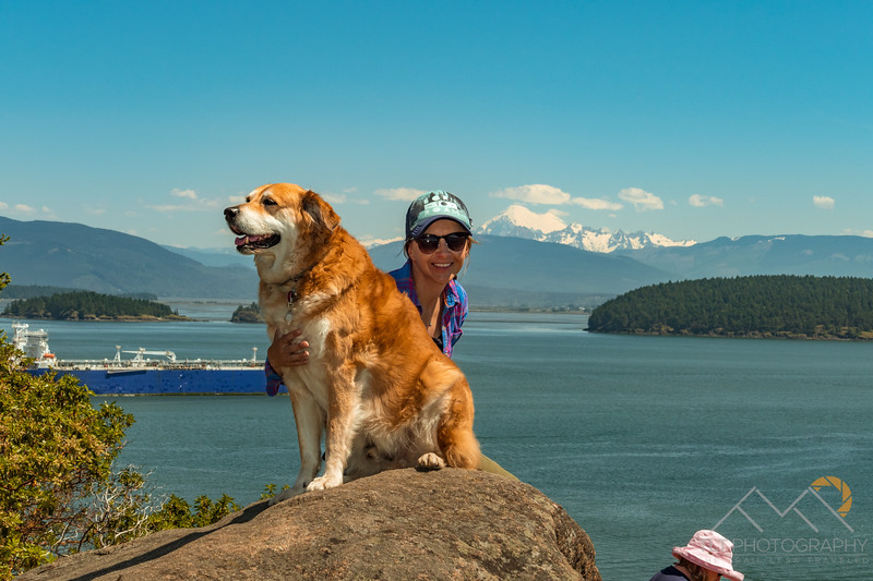 Leo and Emily at Cape Sante Park in Anacortes, WA with Mount Baker in distance.