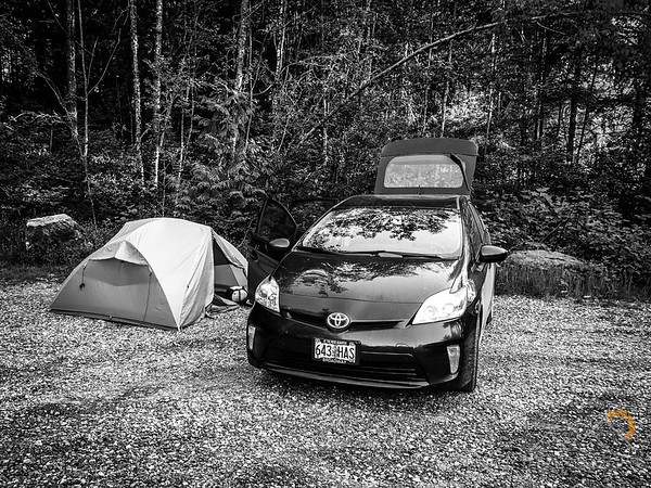 Our campsite at the Blanchard Mountain Trail Lower parking lot just west of Alger, WA.