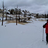 We took our lesson on a groomed ski trail at the Upper Terraces of Mammoth Hot Springs.