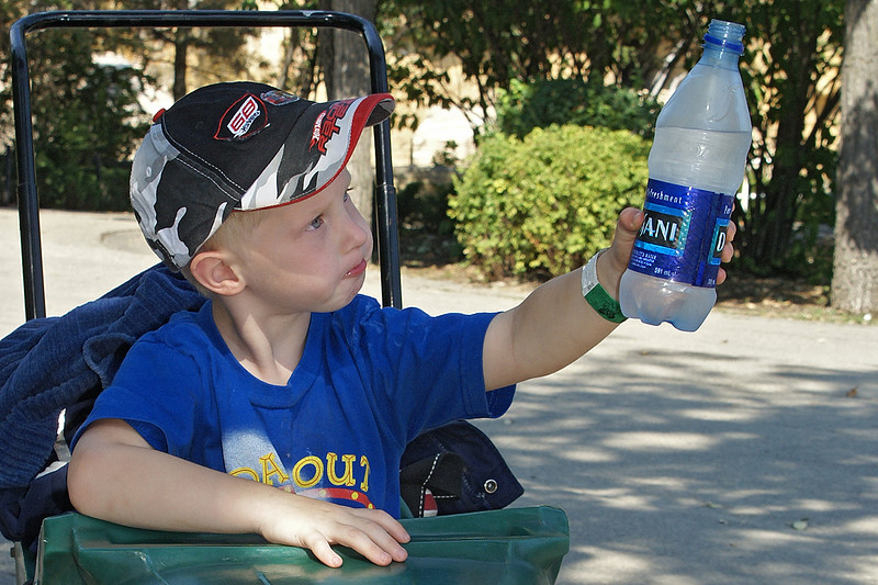 A great commercial for Dasani! <br /> <br /> We are almost done at the zoo, here John finishes drinking some nice refreshing cool Dasani water.