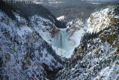 Partially frozen cascade at Grand Canyon of Yellowstone