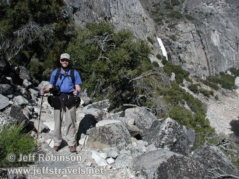 Jeff on trail, view east to Wapama Falls (4/5/2003, Hetch Hetchy, Lynda's photo)