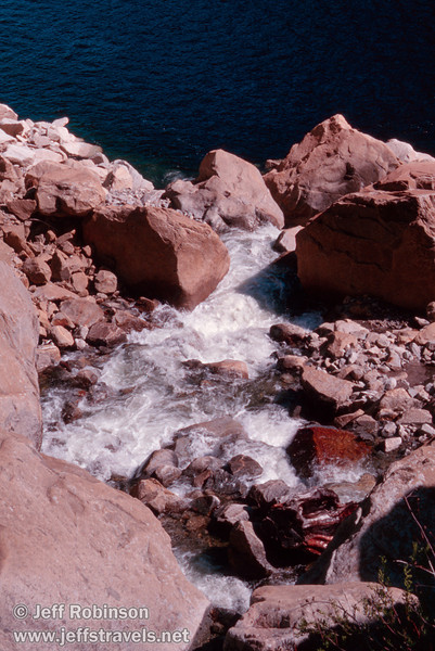 Falls Creek below the foot bridge flowing into Hetch Hetchy reservoir (Wapama Falls hike, Hetch Hetchy, Yosemite NP, 3/30/2003 or 4/5/2003)