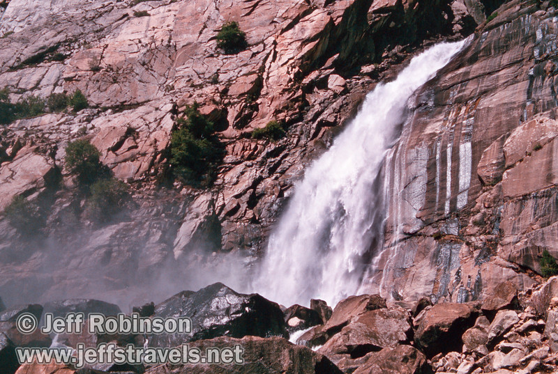 The lower part of Wapama Falls, seen from the food bridge over Falls Creek (Wapama Falls hike, Hetch Hetchy, Yosemite NP, 3/30/2003 or 4/5/2003)