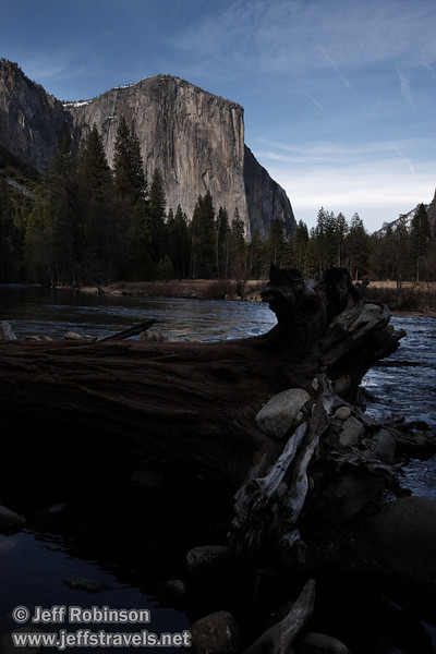 El Capitan over the Merced River with a fallen tree in the foreground. Seen from the Valley View turnout on Northside Drive. (3/28/10, Yosemite NP)