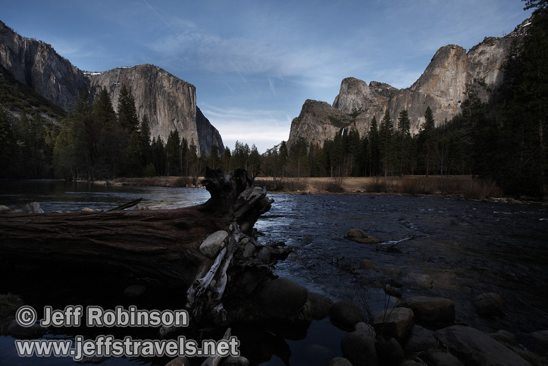 El Capitan (left) and Bridalveil Fall below the Cathedral Rocks & Spires (right) over the Merced River, with a fallen tree in the foreground. Seen from the Valley View turnout on Northside Drive. (3/28/10, Yosemite NP)