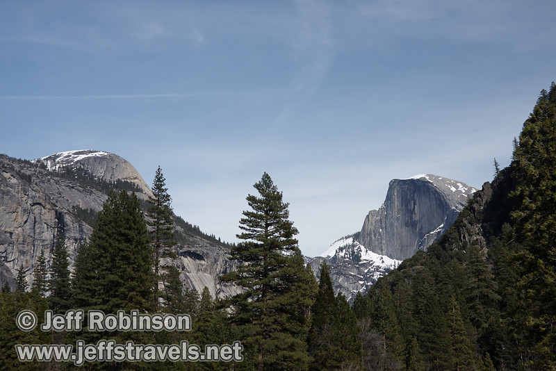 North Dome (left) and Half Dome (right). Seen from trail near turnout on Southside Drive. (3/28/10, Yosemite NP)