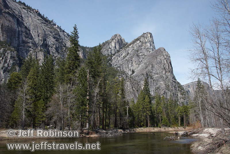 The Three Brothers over the Merced River: Left-most is Eagle Peak, center is the Middle Brother, and right is the Lower Brother. Seen from the south side of the Merced River near a turnout (roughly south of The Three Brothers picnic area). (3/28/10, Yosemite NP)