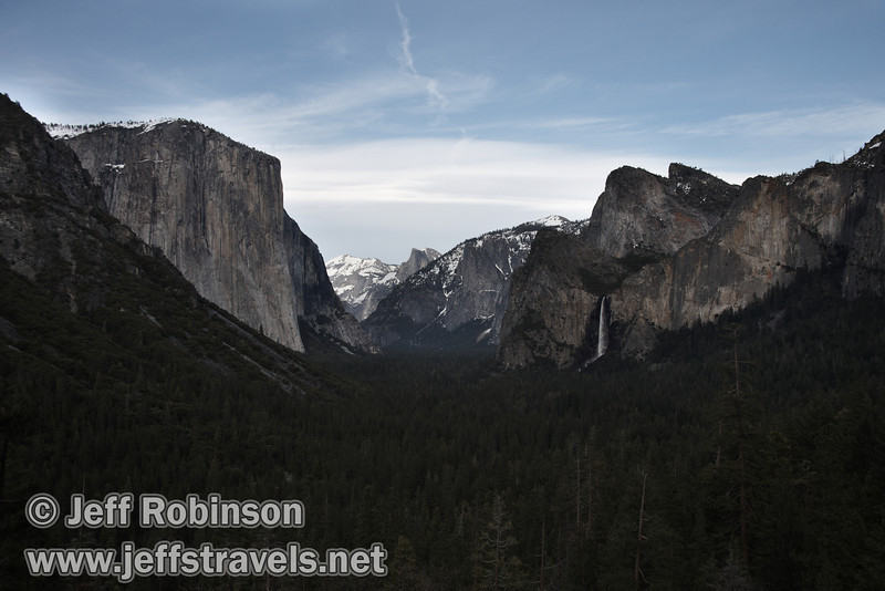 El Capitan (left), Half Dome (center), and Bridalveil Fall below the Cathedral Rocks & Spires (right). Seen from Tunnel View. (3/28/10, Yosemite NP)