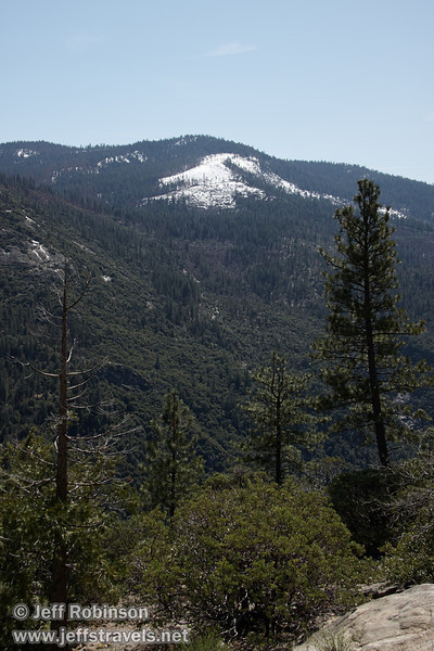 Snow-covered forested hillside framed by trees. Seen from Half Dome View (3/28/10, Yosemite NP)