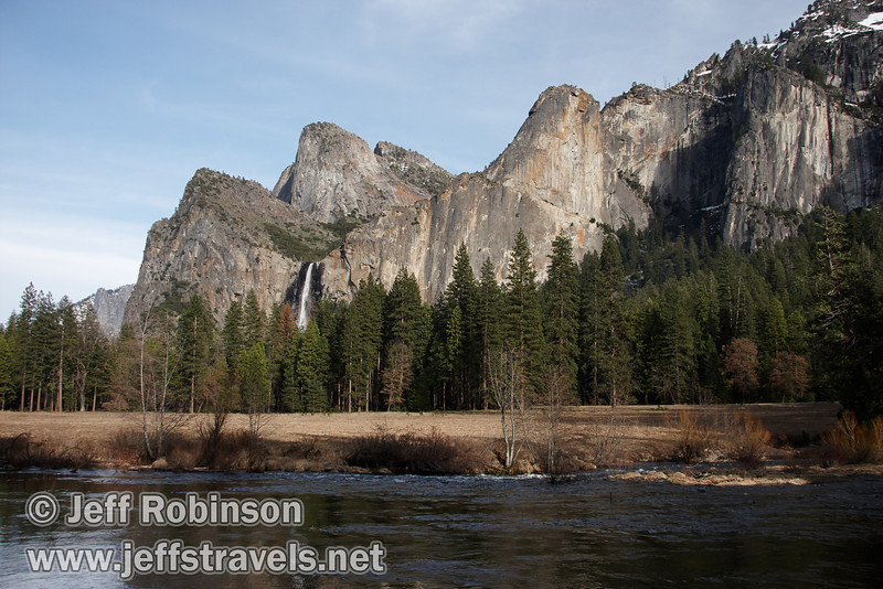 Bridalveil Fall with Cathedral Rocks & Spires on left, the Leaning Tower on the right, and trees and the Merced River in the foreground. Seen from the Valley View turnout on Northside Drive. (3/28/10, Yosemite NP)
