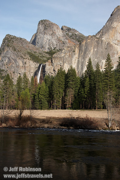 Bridalveil Fall with Cathedral Rocks & Spires on left, and trees and the Merced River in the foreground. Seen from the Valley View turnout on Northside Drive. (3/28/10, Yosemite NP)