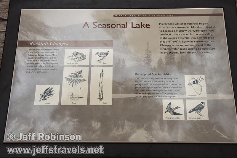 A Seasonal Lake sign at Mirror Lake. (3/29/2010, Yosemite NP)