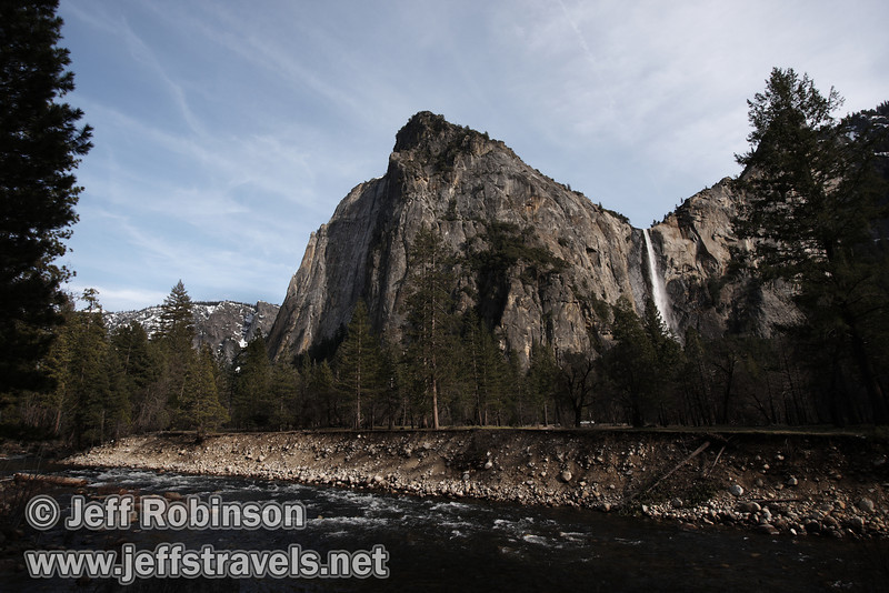 Bridalveil Fall with Cathedral Rocks on its left and the Merced River in the foreground, seen from Bridalveil View turnout on Northside Drive. (3/28/10, Yosemite NP)
