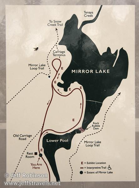 Mirror Lake map on sign at Mirror Lake. (3/29/2010, Yosemite NP)