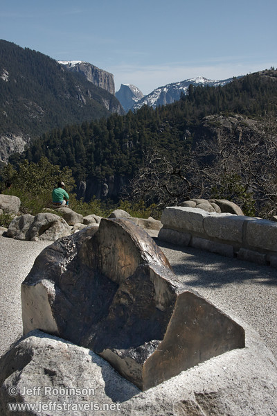 Half Dome View sculpture in foreground, with the real Half Dome and El Capitan in background (3/28/10, Yosemite NP)