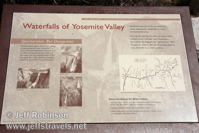 Waterfalls of Yosemite Valley sign. Seen from near the Tamarack/Cascade Creek bridge on highway 140. (3/28/10, Yosemite NP)