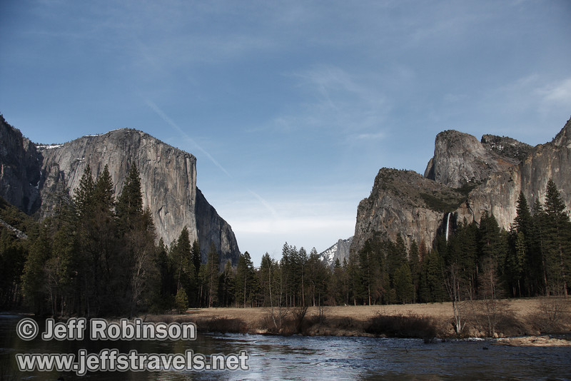 El Capitan (left) and Bridalveil Fall below the Cathedral Rocks & Spires (right) over the Merced River. Seen from the Valley View turnout on Northside Drive. (3/28/10, Yosemite NP)