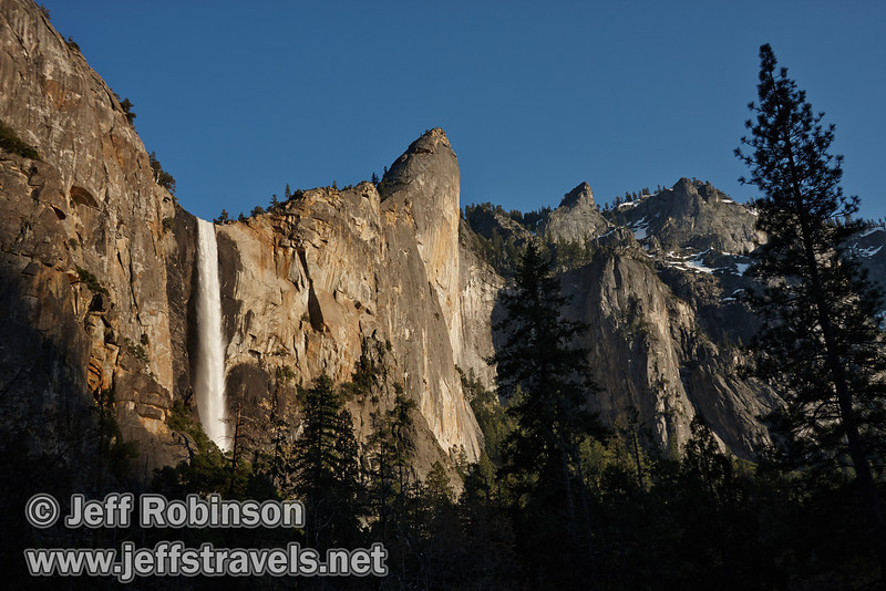 Late sun on Bridalveil Fall with Leaning Tower (right). Seen from the Bridalveil View turnout on Northside Drive (5/15/2010, Yosemite NP)<br /> EF-S17-85mm f/4-5.6 IS USM @ 26mm f9 1/200s ISO160