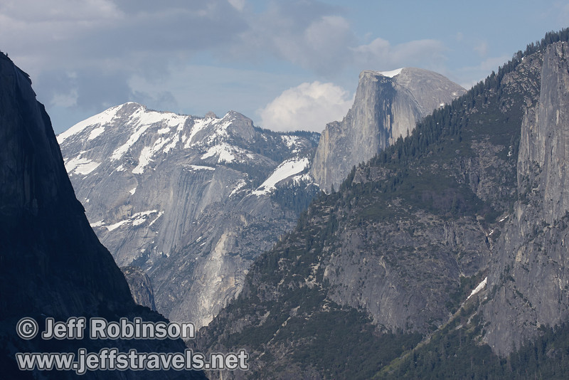 Clouds Rest with a little snow (left) and Half Dome (right) against a partly cloudy sky. Seen from Tunnel View. (5/15/2010, Yosemite NP)<br /> EF100-400mm f/4.5-5.6L IS USM @ 120mm f9 1/640s ISO320