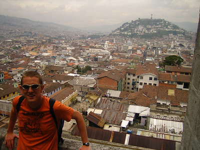 Me at top of a cathedral in Ecuador