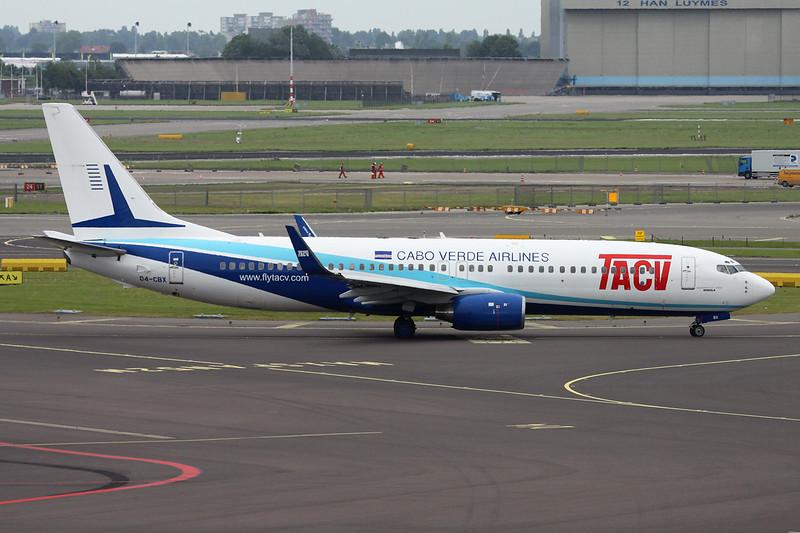 "D4-CBX Boeing  737-8Q8 ""TACV Cabo Verde Airlines"" c/n 30039 Amsterdam/EHAM/AMS 19-06-14"