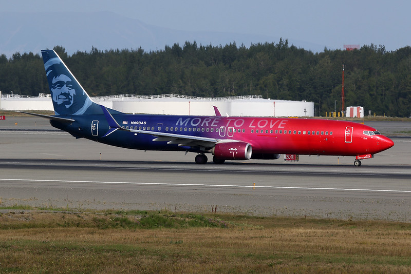 "N493AS Boeing 737-990ER c/n 41727 Anchorage-International/PANC/ANC 10-08-19 ""More to Love"""